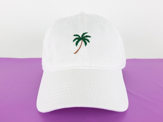 NEW Palm Tree Baseball Hat Dad Hat Low Profile White Pink  3c3e2d48a8e7