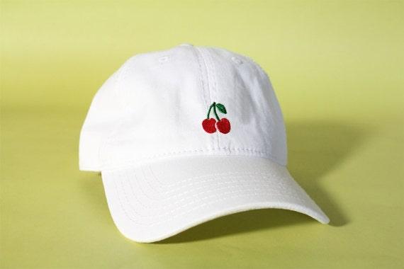 NEW Cherry Baseball Hat Dad Hat Low Profile White Pink Black  e38b4e6b7d95