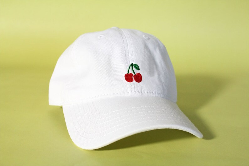 35ea965be84 NEW Cherry Baseball Hat Dad Hat Low Profile White Pink Black