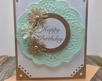 Happy Birthday Card Doilie Feminine Rustic Shabby Chic