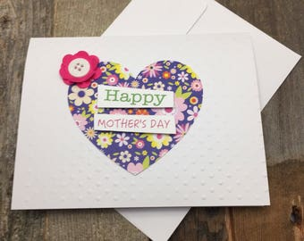Floral Card, Heart Card, Happy Mother's Day Card, Mother's Day Card