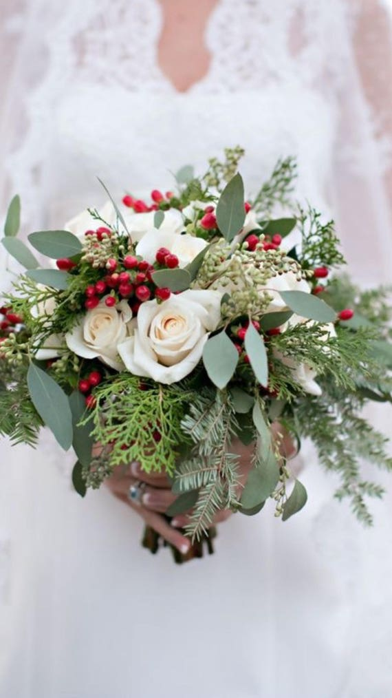 Bouquet Sposa Natale.Inverno Natale Rose Bouquet Da Sposa Etsy