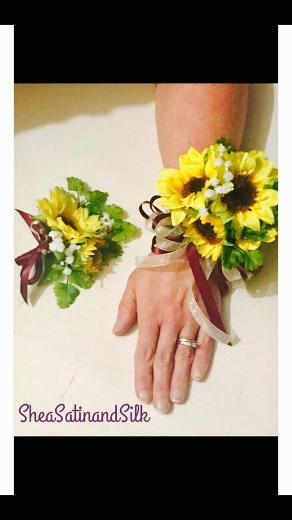Matching Prom Sunflower wrist corsage and boutonniere set