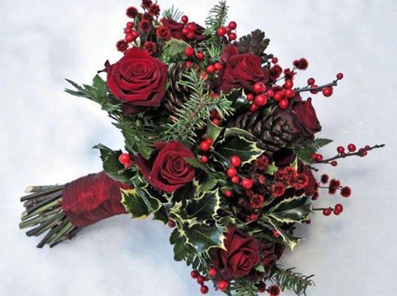 Bouquet Sposa Natale.Bouquet Sposa Rose Di Natale Rosso Etsy