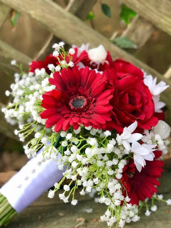 Red Rose Gerbera Daisy Wedding Bouquet | Etsy