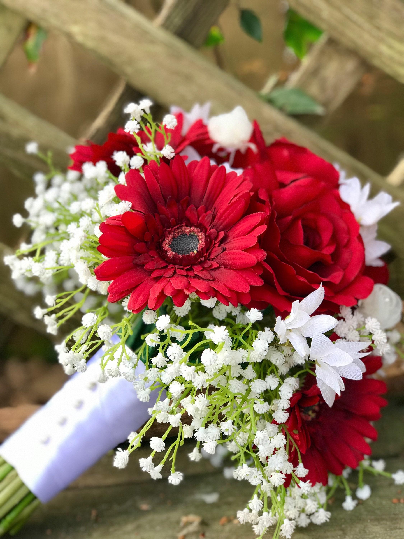 Red Rose Gerbera Daisy Wedding Bouquet Etsy