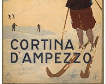 Cortina d/'Ampezzo VINTAGE ITALIAN TRAVEL Ski Poster 1920 24X36 WINTER SPORT