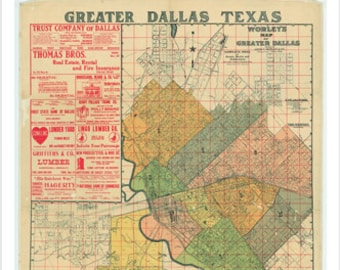 Worley's Greater Dallas, Texas Map Poster 1905 24x36 Details Color-coded Historical
