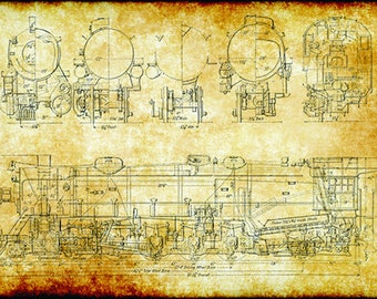 retro vintage steam locomotive train engineering technical drawing schematic  home decor print poster 24x36