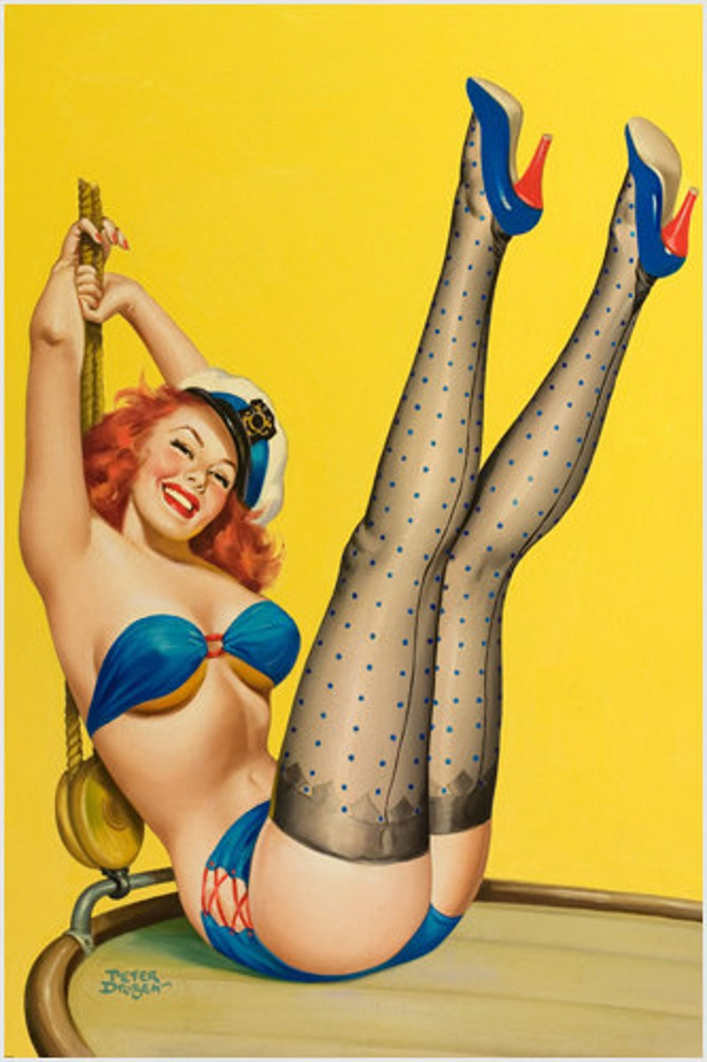 865e1b543 Navy First Mate Pin-up Girl Poster Sexy Vintage Leggy