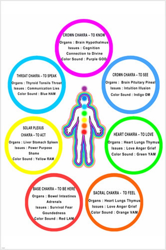 Chakra Chart Poster Colors Meanings Body Parts 24x36 Bright Etsy