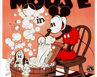 Vintage Walt Disney Mickey Mouse The Mad Dog Poster 24x36 Cartoon Classic