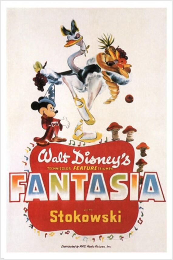 Walt Disney S Fantasia Movie Poster Wild Fun Cartoon 1940 Etsy