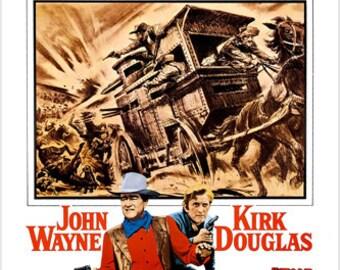 The War Wagon John Wayne Movie Poster Horse-drawn Carriage Guns 24x36
