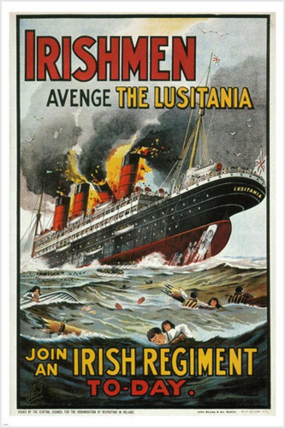 IRISHMEN AVENGE THE LUSITANIA Vintage Poster United Kingdom 1915 24X36 RARE
