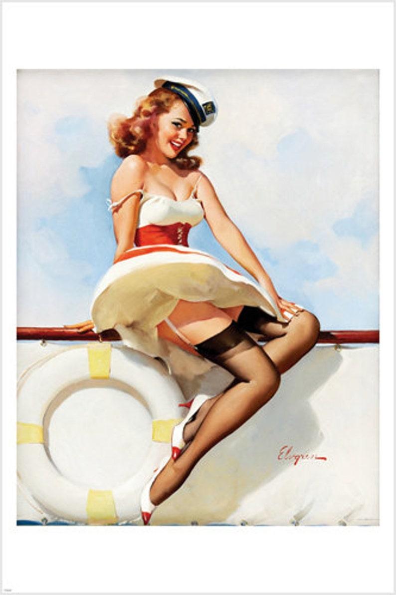 3c4ed5298 BUSTY SAYLOR pin-up girl poster 24X36 flirty sex appeal skirt