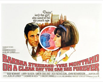 On A Clear Day You Can See Forever Movie Poster Barbra Streisand 24x36 Drama