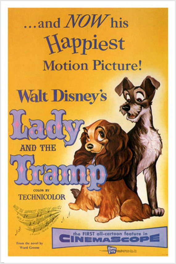 Walt Disney S Lady And The Tramp Movie Poster 1955 24x36 Etsy