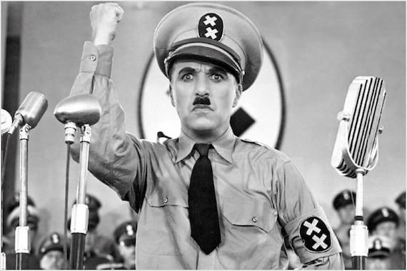 Der Große Diktator Charlie Chaplin Film Poster Lustigen Schnurrbart Seltene 24 X 36