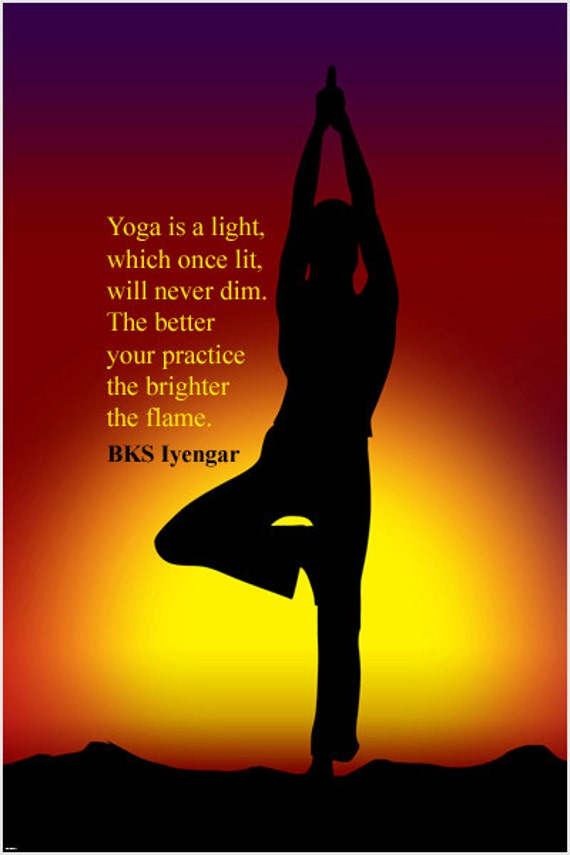 Tree Yoga Pose Inspirational Quote Poster By Bks Iyengar 24x36 Etsy