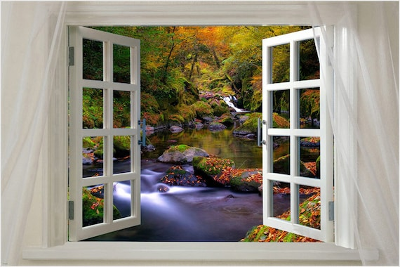 window to violet flowers scenic poster 24X36 LOVELY MEADOW VIBRANT SPRING