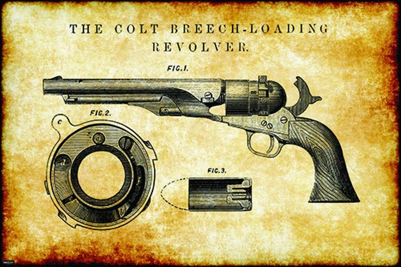 Retro Vintage Gun Firemarm Breech-Loading Revolver Pistol Engineering  Technical Drawing Schematic Home Decor Print Poster 24x36