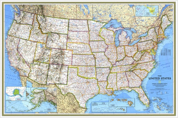 Large Relief And Political Map Of The United States Poster City 24x36