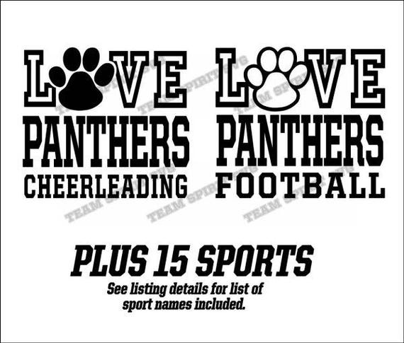 Love Panthers Paw Football -Sports Download Files - SVG, DXF, EPS,  Silhouette Studio, Vinyl Cut Files, Digital Files - Use with Cricut