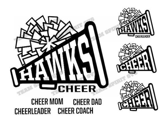 Hawks Cheer Megaphone SVG Download Files - Cheerleading DXF, EPS,  Silhouette Studio, Vinyl Digital Cut Files - Use with Cricut, Silhouette