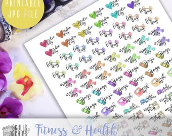 Functional Phrases for Fitness & Health – PRINTABLE Planner Stickers for Erin Condren, Happy Planner, Personal-Sized Planners, etc