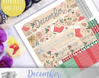 50% OFF! ERIN CONDREN December Monthly View Kit – Printable Planner Stickers