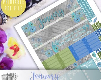 50% OFF ERIN CONDREN January Monthly View Kit – Printable Planner Stickers