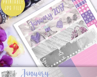 50% OFF! ERIN CONDREN January Monthly View Kit – Printable Planner Stickers
