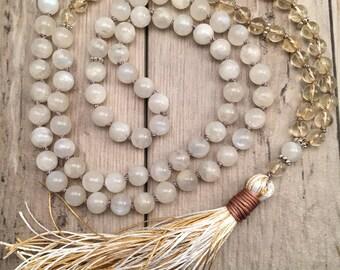 Yoga mala necklace Med Long beaded necklace Abundance and wealth mala necklace ABUNDANCE Citrine /& Gold Hematite 108 mala necklace