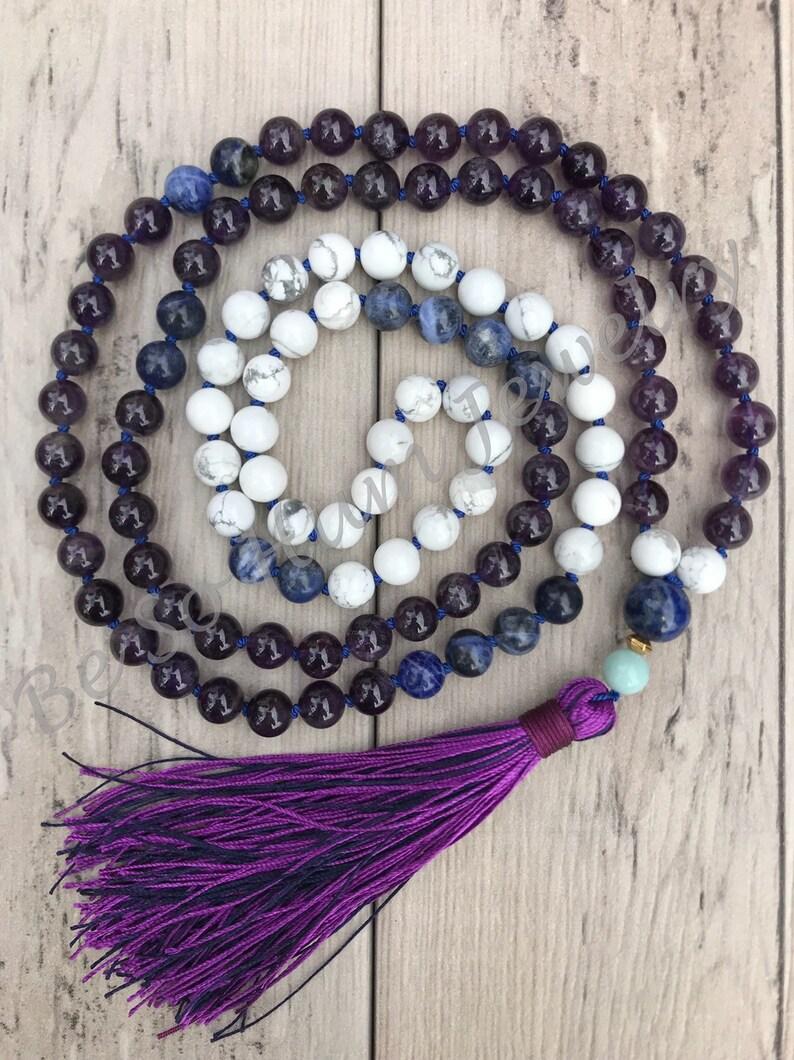 Amethyst Mala Bead Necklace/108 Mala Necklace/Howlite image 0