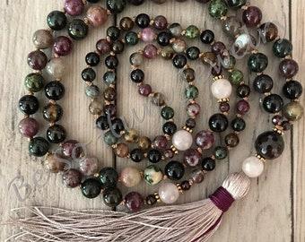 October Birthstone Mala Necklace/Mala Bead Necklace/108 Mala Beads/Tourmaline Necklace/Long Tassel Necklace/Hand Knotted/Silk Tassel