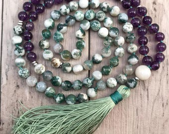 Amethyst and Agate Mala Bead Necklace/Moonstone Mala Beads/Knotted Mala Necklace/Silk Tassel/Zen Mala/108 Mala Necklace/Crown Chakra Mala