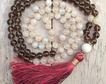 Moonstone and Smokey Quartz Mala Bead Necklace/108 Mala Necklace/Mala Beads/Fertility Mala/Pregnancy Support/Silk Tassel/Hand Knotted Mala