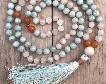 Moonstone Aquamarine Mala Bead Necklace/Mala Necklace/108 Mala Necklace/108 Mala Beads/Hand-Knotted/Pregnancy and Childbirth Mala/Boho Mala
