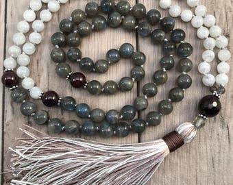 Moonstone Mala Necklace/Labradorite Mala/Garnet Mala Beads/Mala Necklace/108 Mala Beads/Hand Knotted Mala/Silk Tassel/January Birthstone