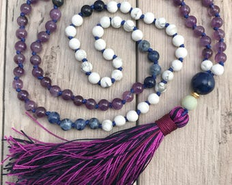 Amethyst Mala Bead Necklace/108 Mala Necklace/Howlite Mala/Mala Beads/Crown Chakra/Sobriety Mala/Hand knotted Mala/Silk Tassel Mala