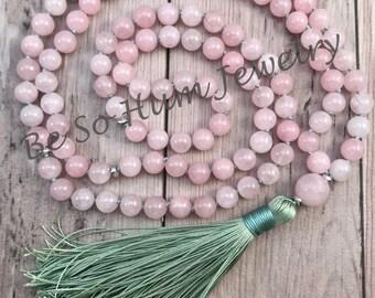HEART CHAKRA Mala Necklace/Rose Quartz Mala Bead Necklace/Mala Beads/108 Mala Necklace/Meditation Mala Beads/Yoga Jewelry/Hand Knotted Mala
