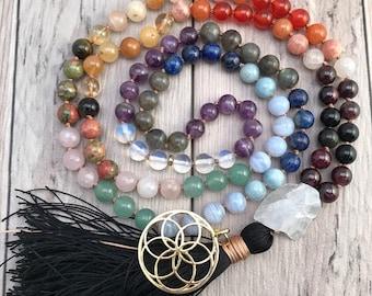 Chakra Mala Necklace/108 Mala Beads/7 Chakra Mala Bead Necklace/Hand Knotted Mala/Silk Tassel/Pendant Mala Necklace/Yoga Jewelry/Mala Beads