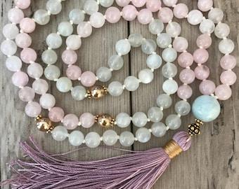 LOTUS MOON MALA/Moonstone and Rose Quartz Mala Necklace/Aquamarine Mala Bead Necklace/Mala for Fertility/Pregnancy Support/Heart Chakra