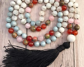 Moonstone and Aquamarine Mala Necklace/Mala Bead Necklace/Rose Quartz Mala/Hand Knotted/Silk Tassel/Carnelian Mala/Mala Beads/Unakite Mala