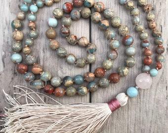 African Opal and Rose Quartz Mala Bead Necklace/108 Mala Beads/Mala Necklace/Silk Tassel/Hand-Knotted/Gemstone Mala/Boho Tassel Necklace