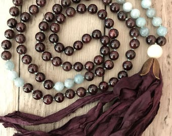 Garnet and Aquamarine Mala Necklace/Sari Silk Tassel/Hand Knotted/108 Mala Necklace/Boho Tassel Necklace/Boho Mala/Gemstone Mala/Mala Beads