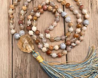 Citrine Mala Necklace/108 Mala Necklace/Mala beads/108 Mala beads/hand-knotted/silk tassel/Solar Plexus Chakra/Happiness Mala/Yoga Beads