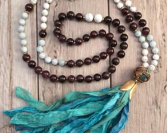 Sari Silk Tassel Mala Necklace/LIMITED EDITION Mala Bead Necklace/108 Mala Beads/Tibetan Guru Bead/Hand Knotted/Boho Necklace/Gemstone Mala