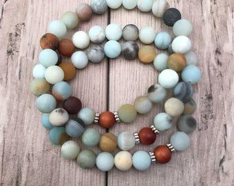Amazonite Bracelet/Sandalwood Bracelet/Mala Bracelet/Bracelet Stack/Yoga Bracelet/Gemstone Bracelet/Unisex Bracelet/Yoga Jewelry/Meditation
